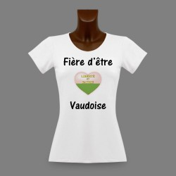 T-Shirt slim moulant pour femme - Fière d'être Vaudoise