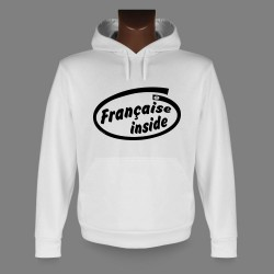 Women's Hooded Funny Sweat - Française inside
