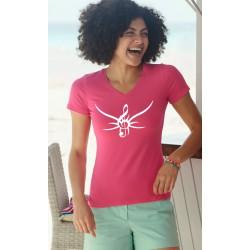 Women's cotton T-Shirt - Tribal Treble clef, 57-Fuchsia