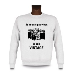 Men's Funny Sweatshirt - Vintage Camera, White