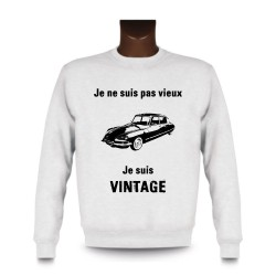 Men's Funny Sweatshirt - Vintage Citroën DS, White
