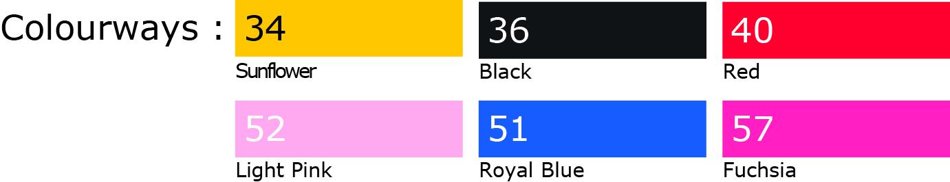 Codes couleurs de la marque de T-shirts FRUIT OF THE LOOM®
