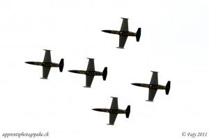 La patrouille Breitling volant en formation serrée