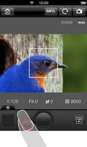 L'application EOS Remote pilotant le Canon EOS 6D depuis un smartphone