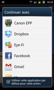 Avec l'application Canon Camera Window il est possible de partager ses photos directement sur Facebook