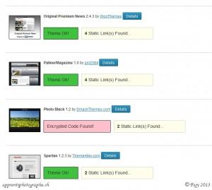 Liste d'état des thèmes WordPress installés