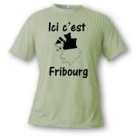 """T-shirt """"ici c'est Fribourg"""" pour homme ou femme"""
