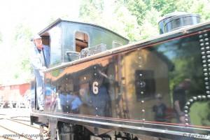 Chauffeur de locomotive à vapeur avant l'application de la lomographie