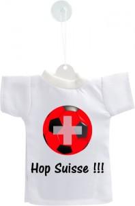 Mini t-shirt - Hop Suisse - pour votre voiture, livré avec son cintre et sa ventouse