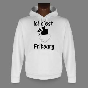 Sweatshirt blanc à capuche - Ici c'est Fribourg