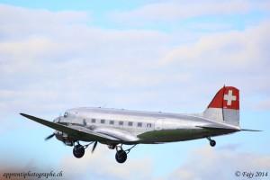 Le Douglas DC3 Swissair au décollage