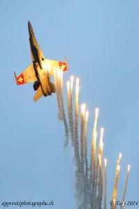 Un F/A-18 de l'escadrille 17 larguant des flares. Un spectacle grandiose comme fût tout le premier week-end de AIR14