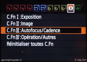 Canon EOS 7D, menu Fonctions personnalisées, Autofocus/Cadence
