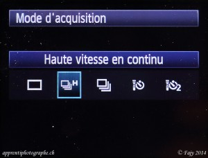 Canon EOS 7D, menu mode acquisition, sélection haute vitesse continu