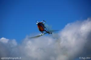 Vignettage naturel d'un hélicoptère modèle réduit pris au téléobjectif, lors d'un show d'aéromodélisme