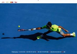 Roger Federer - le calendrier 2016, mois de février