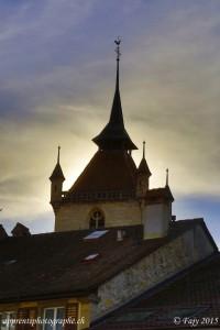 Le clocher de la Collégiale St-Laurent vu depuis le château - Estavayer-le-Lac