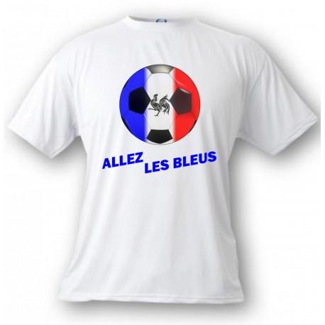 Women's or Men's soccer T-Shirt - Allez les Bleus, White