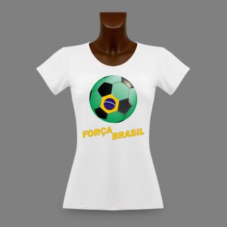 Football slim T-Shirt - Força Brasil - pour dame