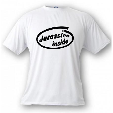 Uomo funny T-Shirt - Jurassien inside, White