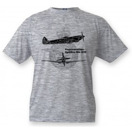 Kids Fighter Aircraft T-shirt - Supermarine Spitfire MkXVI, Ash heater