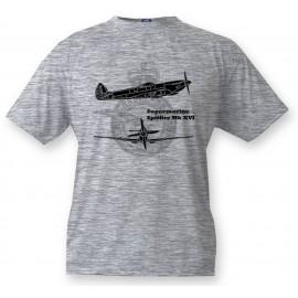 Kids Fighter Aircraft T-shirt - Supermarine Spitfire MkXVI, Ash heater