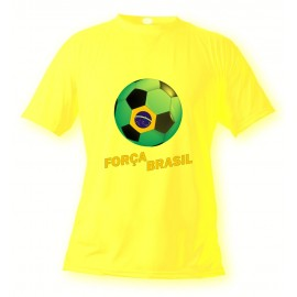 Men's or Women's Soccer T-Shirt - Força Brasil, Safety Yellow
