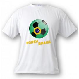 Kids Soccer T-shirt - Força Brasil, White