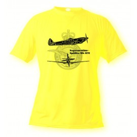 Women's or Men's Fighter Aircraft T-shirt - Spitfire MkXVI, Safety Yellow