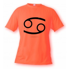 Women's or Men's astrological sign T-shirt - Cancer, Safety Orange