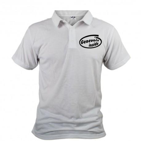 Men's Funny Polo shirt - Genevois inside, White