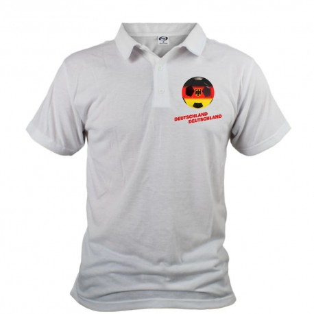 Polo football homme - Deutschland Deutschland, Blanc