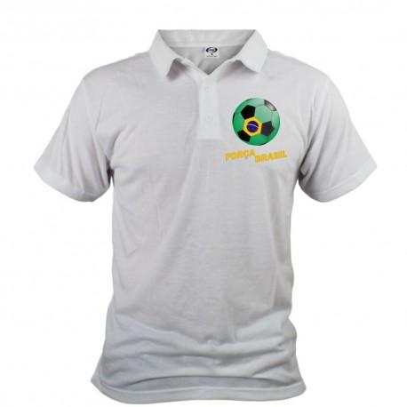 Polo football homme - Força Brasil, Blanc
