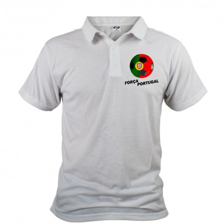 Men's Soccer Polo shirt - Força Portugal, White