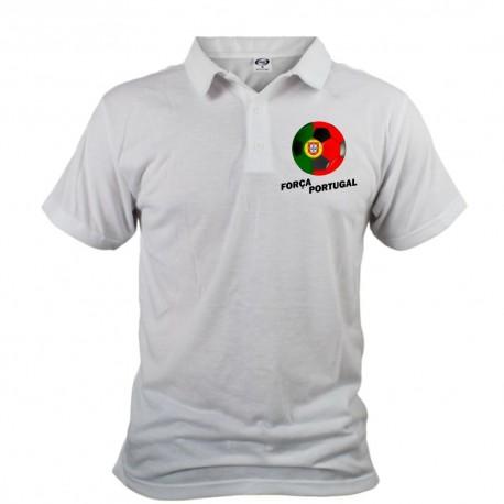 Polo football homme - Força Portugal, Blanc