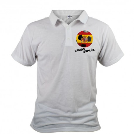 Men's Soccer Polo shirt - Vamos España, White