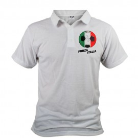 Men's Soccer Polo shirt - Forza Italia, White