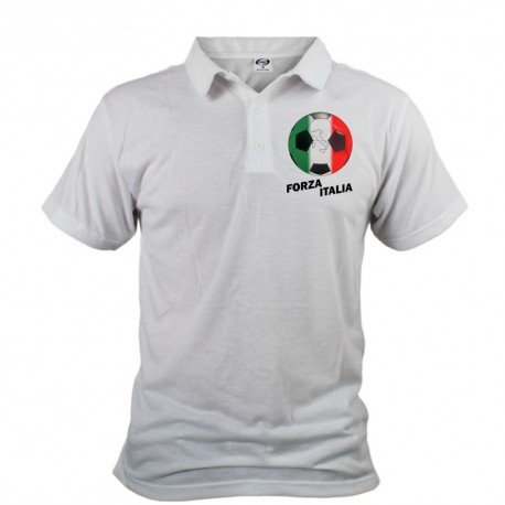 Fussball Herren Polo - Forza Italia, Weiss