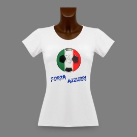 Women's Slim Soccer T-Shirt - Forza Azzurri