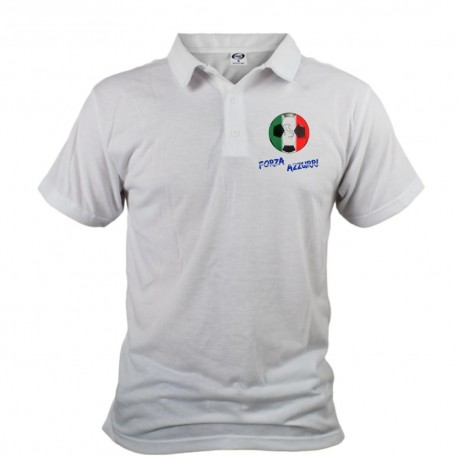 Men's Soccer Polo shirt - Forza Azzurri, White