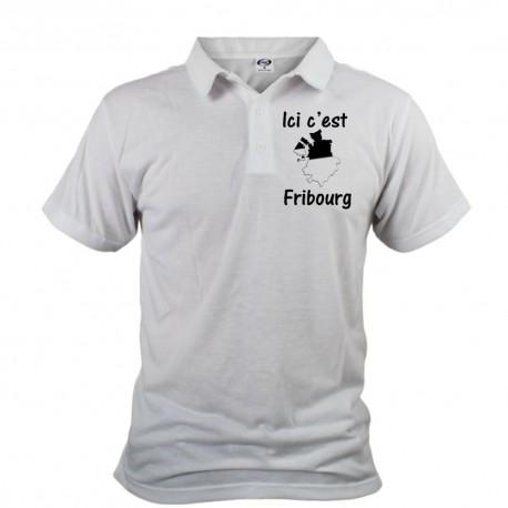 Herren Polo shirt - Ici c'est Fribourg, White