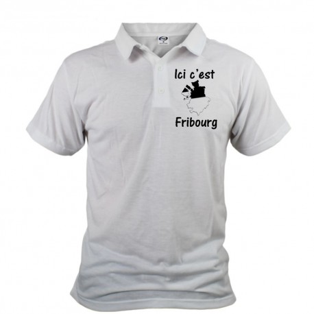 Polo shirt homme - Ici c'est Fribourg, White
