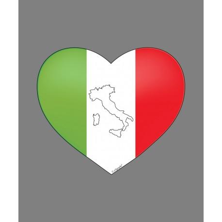 Sticker autocollant - Coeur Italien et botte italienne - pour voiture, notebook, tablette ou smartphone