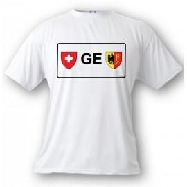 Men's or Women's T-shirt - License Plate - GE, White