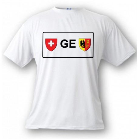 Men's or Women's T-shirt - License Plate - GE, White