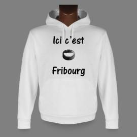 Sweat à capuche - puck de hockey - Ici c'est Fribourg