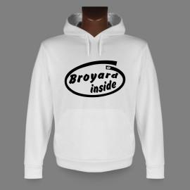 Sweat bianco a cappuccio - Broyard inside