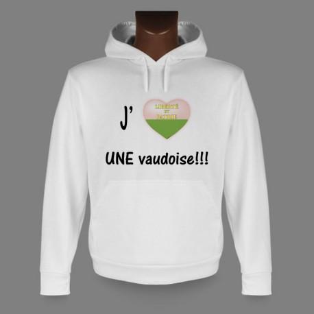 Pull blanc à capuche mode homme - J'aime UNE Vaudoise - coeur aux couleurs du canton de Vaud