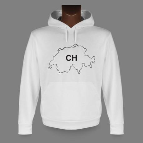 Sweatshirt blanc à capuche - CH - Confederatio Helvetica