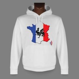 Sweatshirt blanc à capuche - France - pour dame ou monsieur
